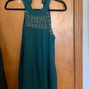 High neck beaded teal dress